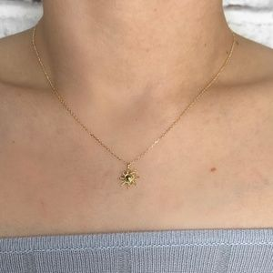 Jewelry - Dainty 18K Gold Dipped Sun Charm Necklace